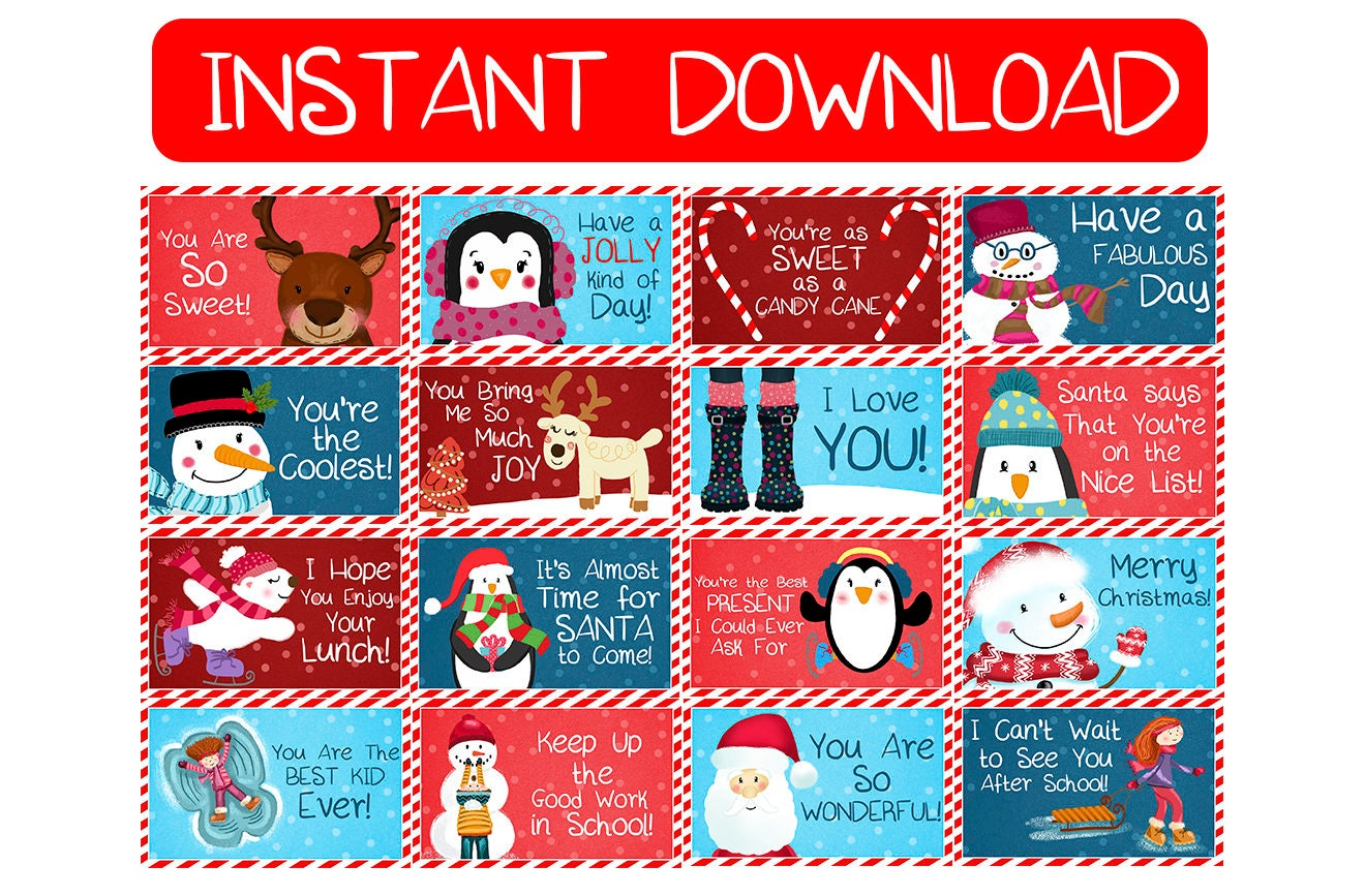 ?zoom  sc 1 st  Etsy & Printable Christmas Lunchbox Notes for Kids Instant Download Aboutintivar.Com