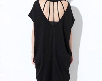 Woman Dresses Black Dress Cotton Dress Summer Dress Hollow Out dress #D99