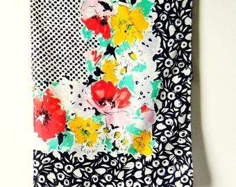 Vintage Italian Floral Dot Scarf / Mod Colorful Scarf / 70s Italian Mod Scarf / Bright Statement Scarf