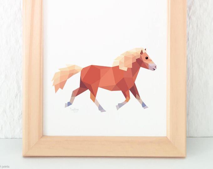 Pony illustration, Children's room animal art, Kid's horse art, Horse theme, Pony decor, Girls room, Horse decor, Equestrian art painting
