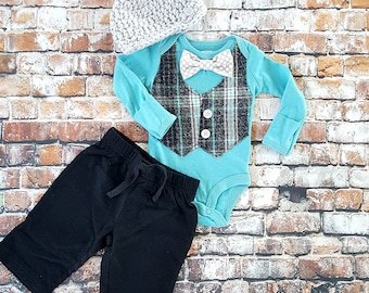 Newborn Baby Boy Coming Home Outfit Set. Vest with Bow tie Bodysuit, Black Pants & Newsboy Hat. Baby Shower Gift. Turquoise, Grey, Black