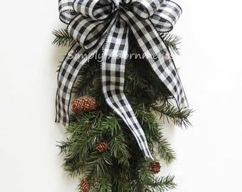 Black White Buffalo Plaid Wreath Bow Black white Christmas Cabin Bow Country Plaid Christmas Bow Black White buffalo Tartan Christmas Bow