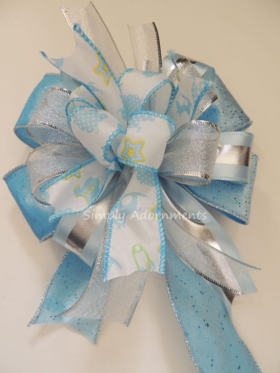 Its a boy Shower Baby Boy Shower Party Decor Blue Silver Baby Shower Blue Shower Gift Bow Party Decor boy Baby Shower Its's Boy Gift Bow