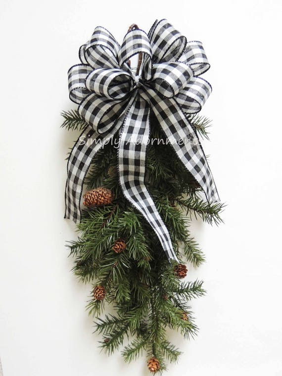 Black White Buffalo Plaid Wreath Bow Black white Christmas Cabin Bow Country Plaid Christmas Bow Black White buffalo Tartan Christmas Bow