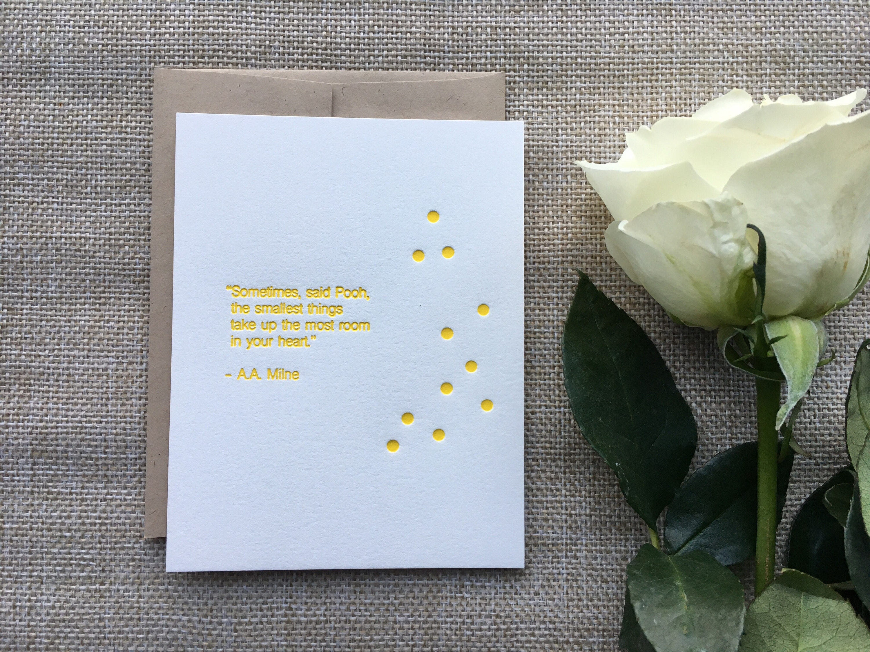 AA Milne quote letterpress print flat card Winnie the – Winnie the Pooh Birth Announcements