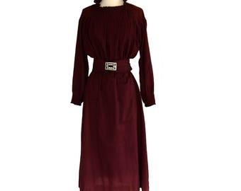 Vintage 1930s Dress / Garnet Red / Deco Buckle / S/M