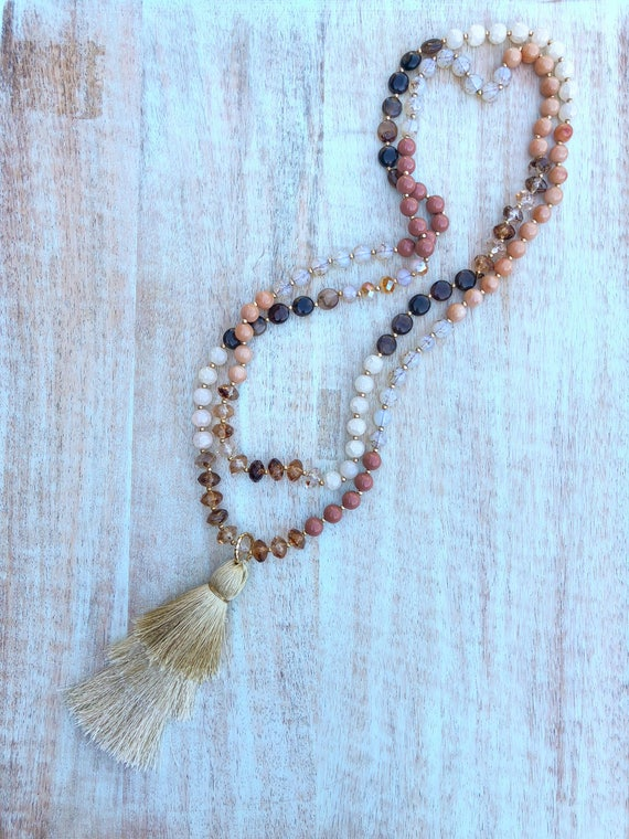 Extra long double triple wrap beaded stone necklace Stacked Tassel natural brown cream mauve