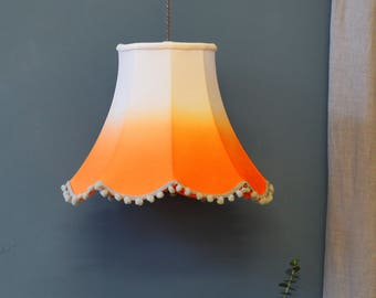 Orange Ombre Traditional Lampshade - handmade lampshade - home decor - fabric shade - designer lighting - decor lighting - dip dyed shade