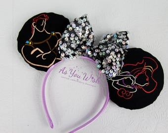 Hercules Megara Pegasus Hades sketch inspired mouse ears with bling bow