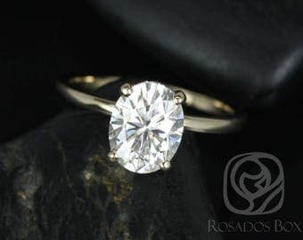 Rosados Box Harper 9x7mm 14kt Yellow Gold Oval F1- Moissanite and Diamonds Thin Skinny Engagement Ring