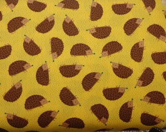 Hedgehog Fabric, Forest Playground, Brown Hedgehogs on Yellow, Woven Cotton, Robert Kaufman Fabrics - By the Half yard
