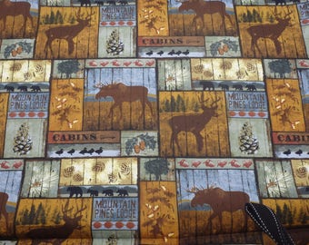 """Mountain Pines Lodge, Cabin Fabric, Northern Moose Fabric, 44"""" wide, by the half yard, 100% Quilting Cotton by David Textiles"""