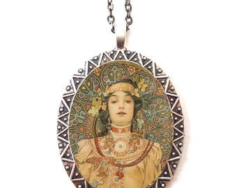 Alphonse Mucha Necklace Pendant Silver Tone - Art Nouveau Boho Bohemian Gypsy Wreath