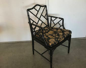 Chinese Chippendale Hollywood Regency Faux Bamboo Chair by Hekman Furniture