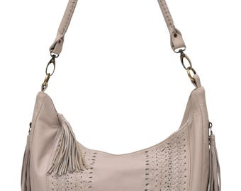 ELYSIAN COAST. Ivory leather shoulder bag / leather bag / leather crossbody bag / crossbody leather purse. Available in different colors