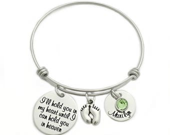 Personalized Hold You in My Heart Bracelet - Engraved - Expandable Wire Bangle - Miscarriage Remembrance - Loss Memorial Bracelet - 1317