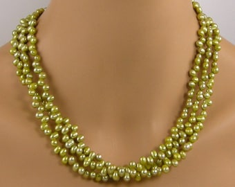 Green Three Strand Pearl Necklace, Lime Green Pearl Necklace, Chartreuse Pearl Necklace, Freshwater Pearl Necklace