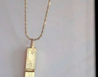 Vintage Whistle Necklace, Ornate Brass Whistle, Mini Whistle, Whistle Pendant, Whistle Charm, Safety Whistle, Miriam Haskell, Patent 3427691