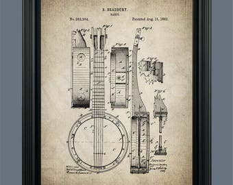 Vintage Banjo Patent Print - Patent Print Poster - Bradbury Banjo Vintage Art - Blueprint - Banjo Poster - Wall Art - Decor - #123