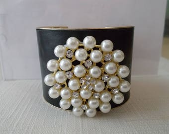 Black and Gold Tone Cuff Bracelet with White Sea Shell Pearls and Clear Rhinestones