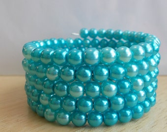 5 Row Memory Wire Cuff Bracelet made with Blue Pearls