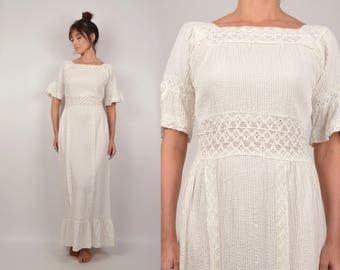 70's Bohemian Maxi Dress Empire Waist Wedding Gown