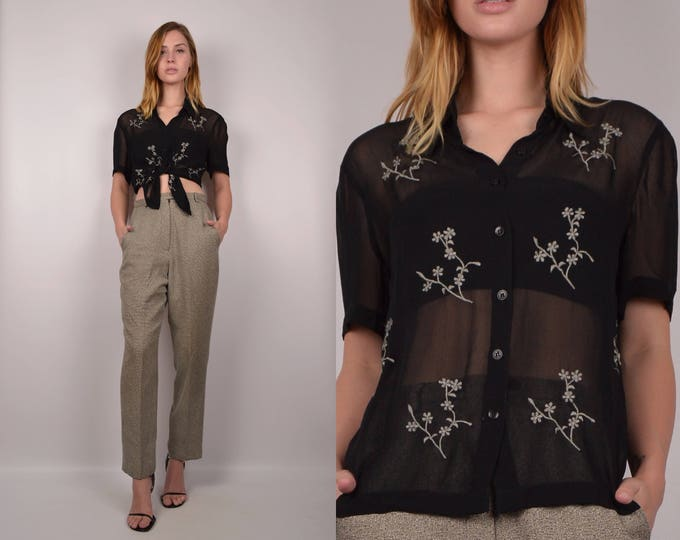 Vintage Sheer Mesh Button Up Shirt / black embroidered top