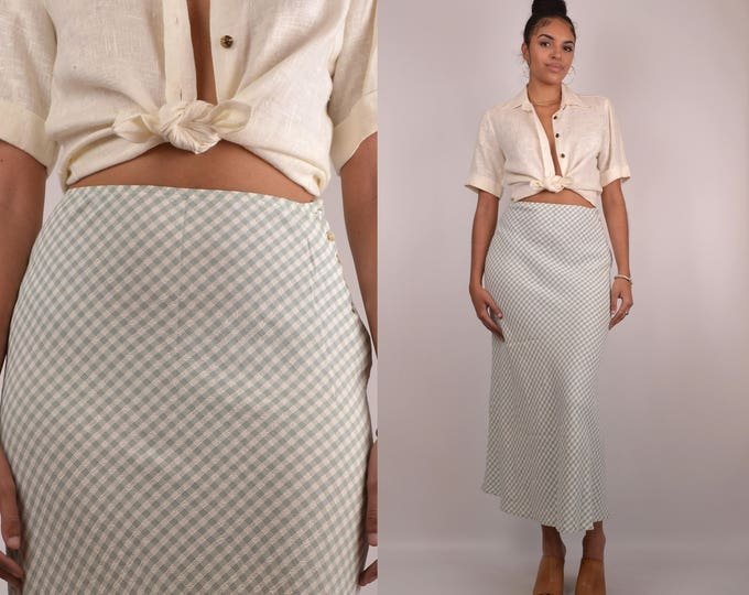 90's High Waist Gingham Skirt