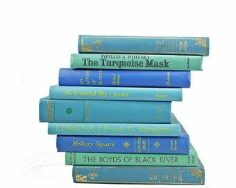 BLue Green Ocean Books, Decorative Books, Rustic Book stack, Antique BOoks Set, Book Decor, Farmhouse CHic, Old  Book Collection