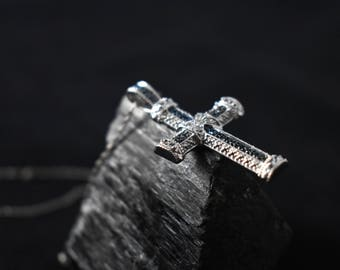Rhinestone Sterling Cross Vintage Blue Pendant Silver Necklace Charm 925 Religious Christian CZ Crystals Rhinestones