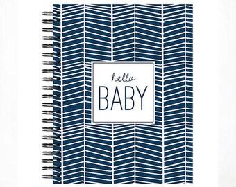 Hello Baby™ Baby book, Baby Memory  Book, NAVY HERRINGBONE Personalized Baby Book,  Baby Books, The Sweet Rhino