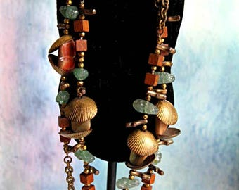 Miriam Haskell Boho Tribal Necklace Earrings, Brass Clamshells, Wood, Abalone, Aventurine, Dyed Coral, Rustic Natural Primitive Themet