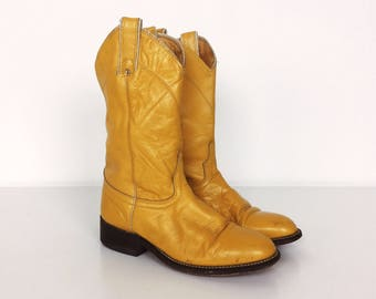 RARE Wrangler Yellow Leather Classic 70's Vintage Western Cowboy Boots // Women's size 5.5 6
