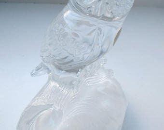 Vintage Cristal d'Arques Lead Crystal Owl Sculpture