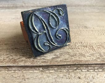 French Embroidery Stamp, Wood Monogram, Textile Stamp, Antique