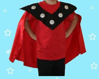 Boy's Thor red cape with felt collar