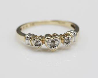 10k Gold Hallmarked Diamond Trilogy Heart Ring White and Yellow Gold    Size  UK O  US 7 1/4