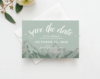 Mountain Save the Date Postcard / Magnet / Flat Card - Rustic Save the Date, Mountain Wedding, Mountains Save the Date, Rustic Wedding