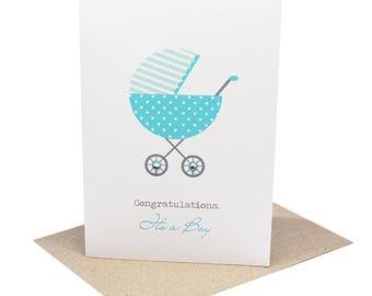 Baby Boy Card - Blue Polka Dot Pram - BBYBOY046 / Congratulations, It's a Boy Card
