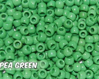 Pea Green Opaque 6x9 mm Barrel Pony Beads