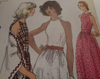 Vintage 1970's Miss Vogue 8044 Halter Dress, Tunic, Pants and Shawl Sewing Pattern, Size 10 Bust 32 1/2