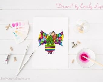 Art Print / Painting Card Invitations Stationary  / Nursery Children Baby Girl's Room / Angel Wings Inspirational Wall Art / Dream