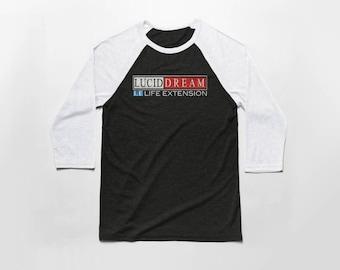 Lucid Dream Life Extension 3/4 Sleeve Baseball T Shirt - Vintage Cotton/Poly Blend Apparel For Men & Women
