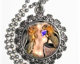 Squirrels in Love Pendant, Romantic Art Painting Resin Charm, Saint Valentine Jewelry, YessiJewels Necklace
