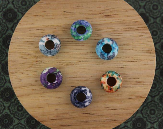 Set of 6 Dyed Jade Gemstone 6mm Hole (1/4 Inch)
