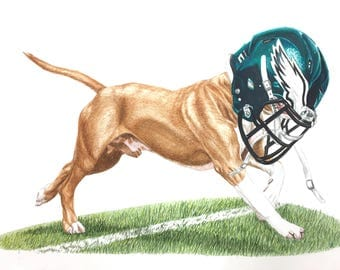 "Philadelphia Eagles Underdog 12"" x 18"" Print of Original Watercolor Painting"