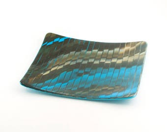 Unique Decorative Dish, Modern Serving Platter, Cool Home Accent, Turquoise and Brown, Fused Glass, Foodie Hostess Gift, One of a Kind
