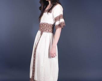 60s White Brown Crochet Mexican Wedding Dress | Boho Hippie Festival Dress | Small