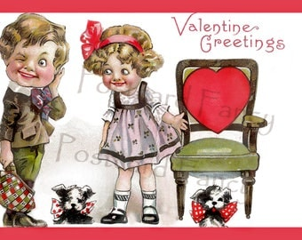 Vintage VALENTINE Card, Boy, Girl, Dogs and Heart, Instant Digital Download, Printable For Your Love