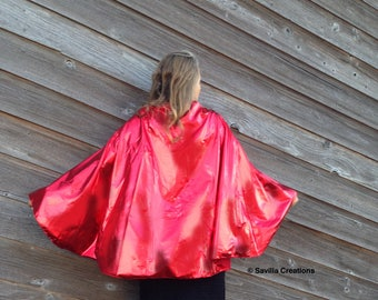 Super hero cape. Metallic red. Made in USA